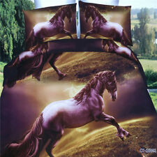 3D Jumping Horse Duvet Quilt Cover Pillowcase Bedding Set Queen Size O