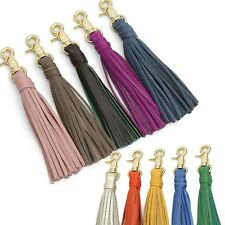genuine leather tassel charm Key chain ring Women bag accessory Handbag ornament