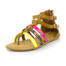 Kids Girls Faux Suede Gladiator Sandals Design Colour Strap Roman Shoes