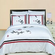 Florence 3pc Red & White Embroidered Duvet Cover Bedding Set and Pillow Shams