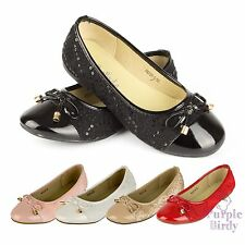 Girls Sequin Lace Pumps Slip on Ballet Flat Shoes Smart Casual Kids Size NEW