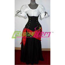 Wench Pirate Dress Corset Medieval Renaissance Ball Gown Halloween Costume
