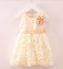 Flower Girls Apricot Cream Rosettes Lace Occasion Wedding Birthday Party Dress
