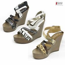 New Womens Platform Wedge Silver Gold Black Strappy High Heel Black Silver Shoes