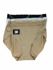 Bali No Lines No Slip Hipster with Lace 3 Pack Panty V406 Black, White, and Nude