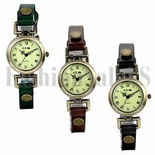Womens Ladies Retro Vintage Round Dial Leather  Band Analog Quartz Wrist Watch