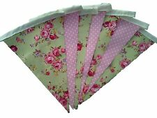 Pistachio and pink floral single sided bunting wedding birthday party decoration
