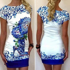 Summer Women Floral Dress Bandage Bodycon Short Sleeve Party Beach Mini Dress