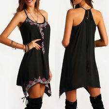 BOHO Sexy Womens Casual Sleeveless Party Strappy Summer Beach Short Mini Dress
