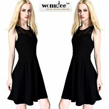 Womdee Mesh Splice Round Neck Sleeveless Pleated A-line Party Cocktail Dress