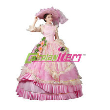 Pink Medieval Renaissance Ball Gown Wedding Dress Royal Court Stage Costume