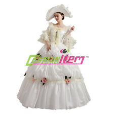 White Medieval Renaissance Ball Gown Wedding Dress Royal Court Stage Costume