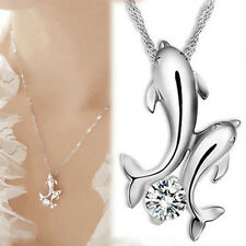 Elegant Silver Plated Cute Double Dolphin Rhinestone Chain Pendant Necklace Gift