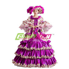Purple Lolita Medieval Renaissance Victorian Ball Gown Wedding Dress Costume