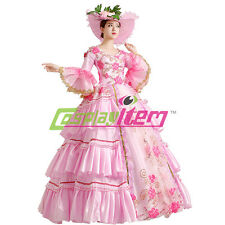 Pink Gothic Lolita Medieval Renaissance Ball Gown Wedding Dress Costume Custom