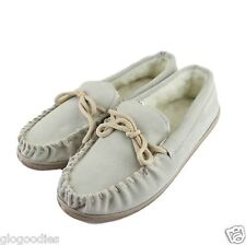 Mens Hardsole Beige Lambswool Moccasins - Extra Thick Sole - Wool Lined Slippers