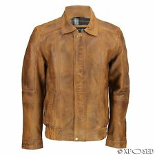 New Mens Smart Casual Real Leather Washed Tan Vintage Bomber Jacket Size S - 6XL