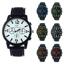 GT Men's Silicone Band Stainless Steel Wrist Watch Blue Number WS