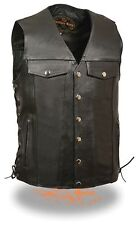 "Men's Black Leather ""Denim Style Pockets"" Biker Vest Side Lace w/ Gun Pockets"