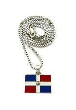 "Silver Dominican Republic Flag Pendant Small Charm 24"" Chain Necklace Jewelry"