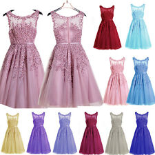 SHORT Lace Beaded Formal Bridesmaid Party Cocktail Gown Prom Evening Ball Dress