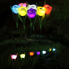 Outdoor Tulip Flower LED Light Solar Powered Yard Garden Path Way Landscape Lamp