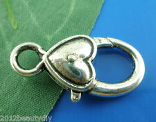 Wholesale Silver Tone Heart&Love Lobster Clasps 27x13mm