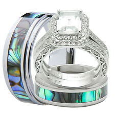 4Pcs His and Hers Titanium 925 Sterling Silver Wedding Bridal Matching Rings Set
