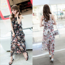 Beautiful Cool Women Summer Chiffon Floral Strap Dress Bohemia Beach Long Dress