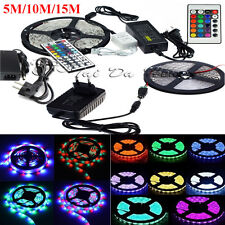 5M/10M/15M 3528 5050 RGB White SMD Flexible Light LED Strip 12V Power Remote IR