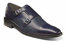Stacy Adams Mens Navy Gardello Leather Dress Monk Strap Trending Loafer Shoe