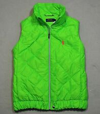 NWT WOMEN'S POLO RALPH LAUREN NEON GREEN QUILTED DOWN PUFFER VEST SIZE S