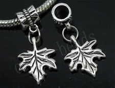 30/150pcs Charm Tibetan Silver Maple Leaf Bulk Lots Dangle European Bracelet