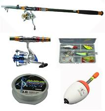 2.1m Carbon Telescopic Fishing Spinning Rod Set Combo Saltwater Spinning Reel