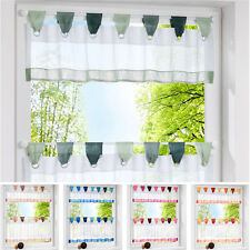 2 Pieces Cafe Home Balcony Liftable Window Valance Tier Kitchen Curtain Set New