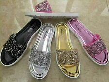 CLEARANCE Glitter Ladies Flip Flops Sandals Black Silver Pink Gold