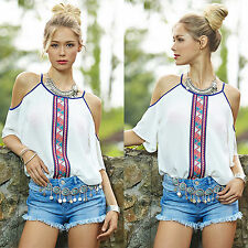 Summer Women Boho Off Shoulder Chiffon Blouse Half Sleeve Strappy T-shirt Tops