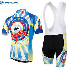 Cycling Jersey Short Sleeve Fashion + (Bib) Shorts Suit Blue Shark Ropa Ciclismo
