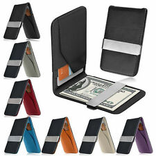 Men's Leather Stainless Steel Money Clip Slim Wallet ID Credit Card Holder Purse