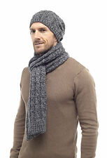 i-Smalls Men's Stylish Cable Knit Beanie Hat OR Scarf OR Beanie Hat with Scarf