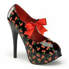 Pin Up Couture Teeze by Pleaser Hidden Platform Open Toe Mary Jane Bow Black