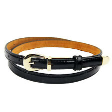 5X(Modern  Candy Color Pu Leather Thin Belt Thin Skinny Waistband-)