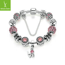 Hot Sales Women Sparkling Pink Crystal Charm Bracelet With Silver Love Accessory