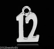 """Wholesale Silver Plated Number Age """"12"""" Charm Pendants 15x10mm(5/8""""x3/8"""")"""