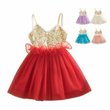 Princess Baby Girls Kids Sequins Summer Wedding Party Dress Tulle Tutu Sundress