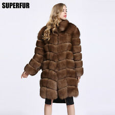 Women's Thicken 100% Genuine Fox Fur Jacket Long Coat Hook Lining Outwear C0116