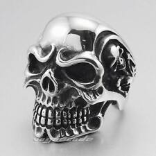 316L Stainless Steel Huge Heavy Titan Skull Skeleton Mens Biker Punk Ring 3A001E