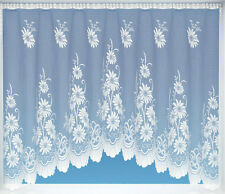 NEW TOP QUIALITY JARDINIERE PETAL DAISY FLORAL NET CURTAIN PANEL 18 SIZES WHITE