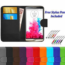 Magnetic PU Leather Book Flip Wallet ID Case Cover For LG Various Phone Models
