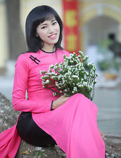 Pink, Black Ao Dai Vietnam Customized, Ao Dai Sews follow your SIZE, Silk, Satin